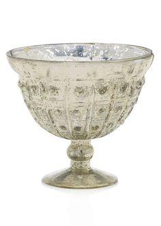 "Baleri Mercury Glass Vase Compote Bowl in Silver Gold<br>5"" Tall x 6"" Diameter"