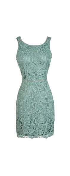Embraced By Lace Fitted Open Back Dress in Sage  www.lilyboutique.com