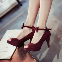 Vintage Peep Toe Stiletto High Heel Red Suede Ankle Pumps
