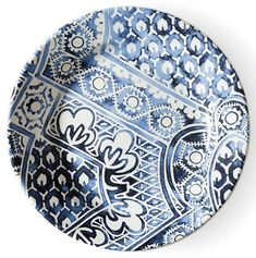 Cote D'Azur Batik Salad Plate, Navy/White - Ralph Lauren Home - Brands Stoneware Mugs, Ceramic Plates, Batik Prints, Ticking Stripe, Bath Linens, Watercolor Design, Salad Plates, One Kings Lane, Dinner Plates