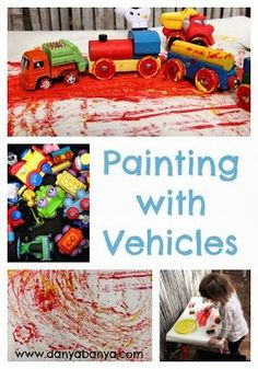 Painting with Vehicles — This is a creative way for your little guy to play with his Hot Wheels while creating colorful works of art!