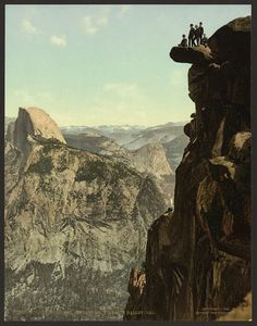 Glacier Point and South Dome, Yosemite Valley , 1898 Vintage Photographs, Vintage Images, Vintage Postcards, Yosemite National Park, National Parks, Glacier Point, Boston Public Library, Yosemite Valley, First Photograph