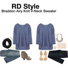 """Braddon Airy Knit V-Neck Sweater"" by hanger731x on Polyvore"