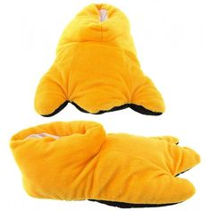aebdac20f782 Wishpets Yellow Duck Feet Plush Animal Slippers Fuzzy Slippers
