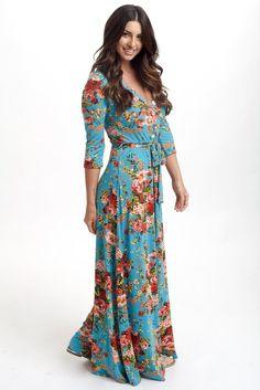 Aqua-Floral-Draped-3/4-Sleeve-Maternity-Maxi-Dress