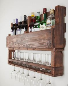Discover recipes, home ideas, style inspiration and other ideas to try. Diy Kitchen Decor, Kitchen Design, Home Decor, Beer Bottle Crafts, Rustic Wine Racks, Wine Rack Wall, Pallet, Liquor Cabinet, House Design