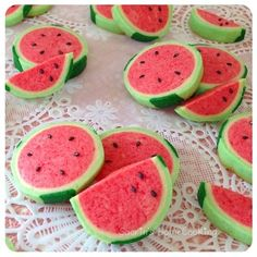 Watermelon cookies. Just a picture walk thru on how to mold, no recipe. Can do with any cookie dough recipe but I think sugar cookie dough would work best.