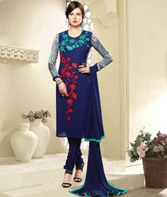 Buy Navy Blue Georgette Churidar Suit 75460 online at lowest price from huge…