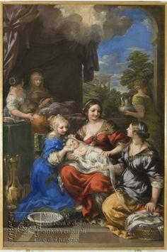 De geboorte van Maria ~ Altaarstuk voor de Chiesa Nuova in Perugia ~ 1643 ~ Olieverf op doek ~ 248 x 164 cm. ~ Pinacoteca Nazionale, Perugia