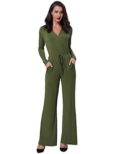 039897c643cc GRACE KARIN Sexy Deep V Neck Long Sleeve Wide Leg Cocktail Knit Jumpsuit
