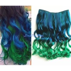 Blue to Green Two Colors Ombre Hair Extension Synthetic Hair... ($11) ❤ liked on Polyvore featuring beauty products, haircare, hair, bath & beauty, grey, hair care, hair extensions and curly hair care