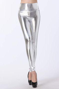 c8bc37fe0585e2 Women Shinny High Waist Leggings, Stretch Faux Leather Pants