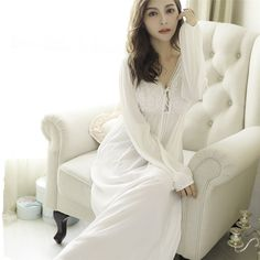 929dc87f0c Retro Royal Princess Nightgowns Spring Autumn Sexy V-Neck Lace Cotton Long  Nightdress Long-Sleeved Sleeping Dress Female