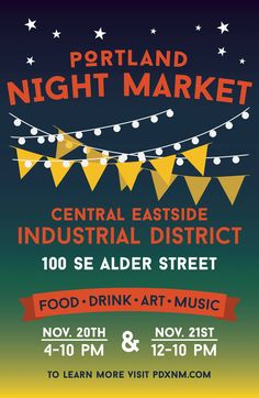 The Portland Night Market showcases the many unique & diverse businesses that call the CEID and the great City of Portland home. Blending food, culture, music, drinks and retail together for an adventurous evening in the Industrial District.
