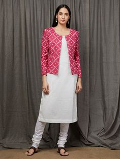 Red Cotton Kurta with Beige Kalamkari Skirt - Set of 2 Jacket Style Kurti, Kurti With Jacket, Kurta Designs Women, Blouse Designs, Churidhar Designs, Dress Designs, Kalamkari Dresses, Kurta Patterns, Indian Gowns Dresses