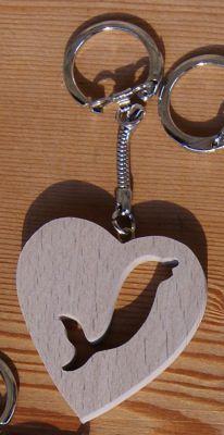 porte clef coeur et dauphin