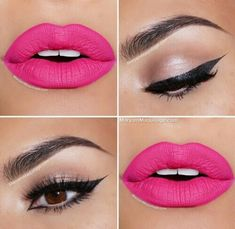Beige cream eye-shadow with winged eyeliner. Bright pink lips. Pretty makeup. Everyday look. Casual makeup.