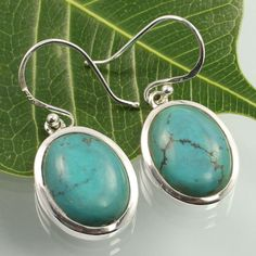Genuine TURQUOISE Gemstones Fabulous Earrings 925 Solid Sterling Silver Handmade #SunriseJewellers #DropDangle