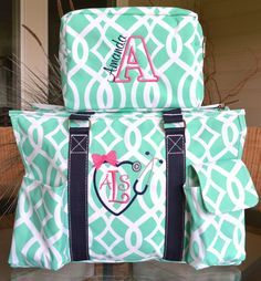 My clinical bags for Nursing Shcool, Love them! www.etsy.com/...
