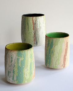 Vases by British potter Clare Conrad. via Studio Pottery UK Ceramic Tableware, Ceramic Cups, Ceramic Pottery, Earthenware, Stoneware, Keramik Vase, Contemporary Ceramics, Ceramic Artists, Creations