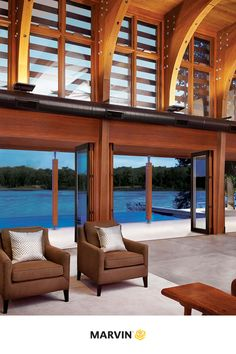 Get inspired to create a living space that blurs the line between indoor and outdoor living. These are the glass doors of your dreams. Marvin Doors, Marvin Windows, Studio Shed, Diy Patio, Home Automation, Glass Doors, Windows And Doors, Modern Architecture, Oasis