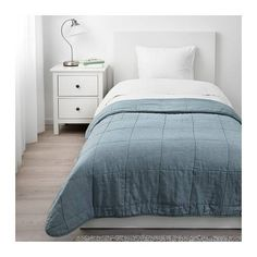 GULVED Bedspread IKEA The bedspread is made of linen, a durable natural material with a varying texture. Comforters, Double Bed Size, Double Beds, 54 Kg, Bed Slats, Queen Size Bedding, Bed Spreads, Linen Bedding, Dark Blue