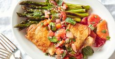 It's no secret that we're big fans of chicken thighs, but they shine particularly bright in this easy dish. Taking advantage of this special moment in the market—in which we have Winter citrus and Spring asparagus and mint—this dinner is both easy and a little something special.