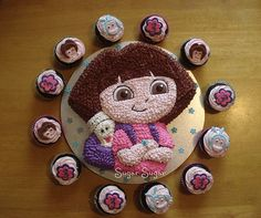 Dora the Explorer Cake and Cupcakes