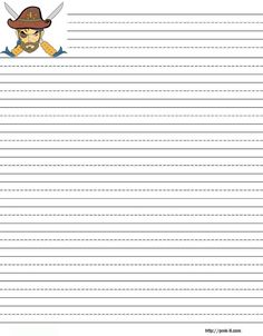 pirate theme Free printable kids stationery, free printable writing paper for kids, primary lined writing paper
