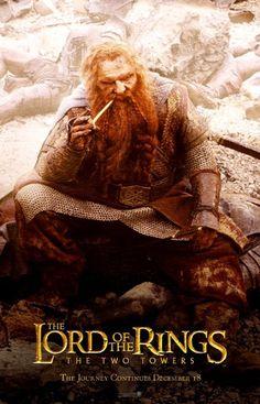 The Two Towers poster~ Gimli Fantasy Movies, High Fantasy, Legolas And Gimli, Hobbit 1, Lotr Trilogy, Jackson, The Hobbit Movies, The Two Towers, Jrr Tolkien