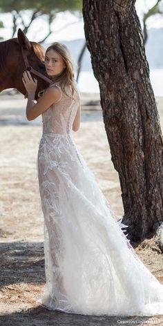 christos costarellos bridal spring 2016 sleeveless gossamer wedding dress hand place applique