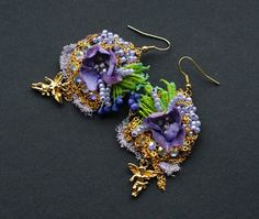 Baroque textile earrings gipsy earrings Marie Antoinette