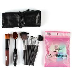 Pro Makeup Brushes Set Eyeshadow Eyeliner Lip Brush With Puff Powder Foundation Tool Women Lady Beauty