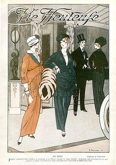 Doeuillet 1914 Edouard Touraine, Feathers Muff Fashion Illustration