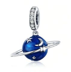 BAMOER 925 Sterling Silver Secret Planet Moon Star Pendant Blue Enamel Charms Fit Charm Bracelets Necklace Silver Jewelry Outfit Accessories From Touchy Style Silver Charms, Silver Necklaces, Silver Jewelry, Silver Beads, Bracelet Pandora Charms, Charm Bracelets, Pandora Jewelry, Beaded Bracelets, Star Pendant