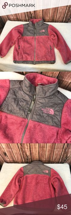 North Face jacket XXS 5 Pink Jacket zip up fleece North Face jacket XXS 5 Pink Jacket zip up fleece. Pink with gray flower detailed accents. The inside of the left side has a tiny hole from the back of the zipper and name has been written in sharpie as pictured. (Name hidden at request of child's mother.) North Face Jackets & Coats