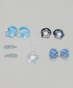Take a look at this Blue Five-Piece Floral Set by Inca Hair on #zulily today!