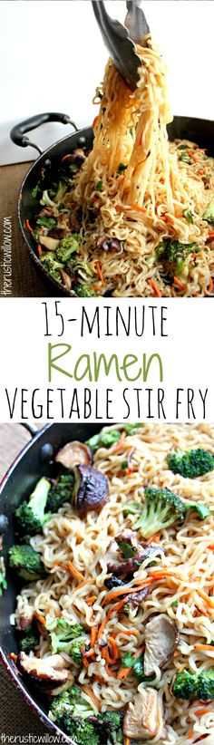 A 15-minute Ramen Vegetable Stir Fry recipe that's incredibly delicious and so easy! | therusticwillow.com Veggie Seasoning Recipe, Veggie Ramen Recipe, Vegetarian Rice Noodle Recipes, Vegetarian Stir Fry Noodles, Stir Fry Seasoning, Paleo Stir Fry, Bean Sprout Recipes, Vegetarian Ramen, Easy Stir Fry