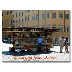 Greetings from Rome postcard depicting a gelati vendor in the Piazza di Santa Maria Maggiore, Rome