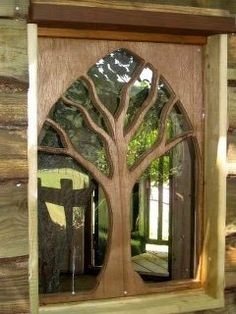 Puerta árbol de madera y cristal wood and glass tree door