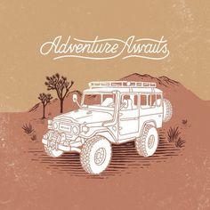 nolimitsblack: Adventure still awaits. Cruiser Car, Toyota Land Cruiser, 4x4, Jeep Stickers, Overland Truck, Toyota Fj40, Car Posters, Badge Design, Car Drawings