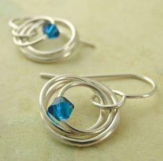 Pretty Sterling Silver Hoop Earrings and Swarovski Crystals!