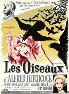 Les oiseaux d' Alfred Hitchcock ! Alfred Hitchcock, Hitchcock Film, Horror Movie Posters, Cinema Posters, Horror Movies, Horror Film, Jessica Tandy, Suzanne Pleshette, Tippi Hedren