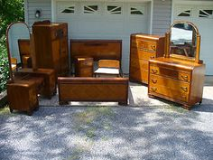 1930u0027s Art Deco Waterfall 8 Piece Bedroom Set Bed Vanity Cedar Chest Dresser