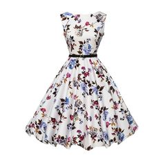 Flower Print Flare Dress With Belt ($18) ❤ liked on Polyvore featuring dresses, flower print dress, belted floral dress, white dress, white flared dress and white floral dress