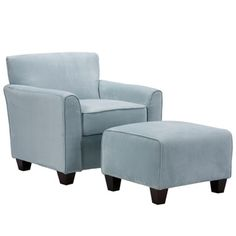 Portfolio Park Avenue Sky Blue Hand-tied Accent Chair and Ottoman | Overstock.com Shopping - Great Deals on PORTFOLIO Living Room Chairs