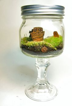 Copper Graveyard BRB Tombstone Terrarium by FaceoftheEarth on Etsy, $30.00
