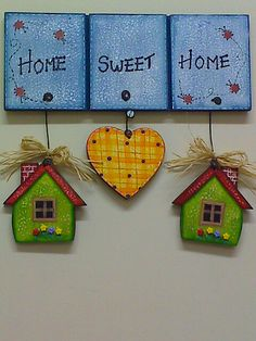 Home Sweet home Diy Home Crafts, Diy Arts And Crafts, Clay Crafts, Wood Crafts, Paper Crafts, Diy Tableau, Diy For Kids, Crafts For Kids, Decoupage