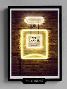 Chanel Print Perfum Bottle Chanel Decor Printable Neon by ArteRKL