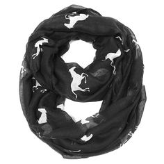 Equine+lovers...here+is+your+Great+Galloping+Horse+Infinity+Scarf!+  Measures+32+x+74  Black+Scarf+with+White+Horse+Print  100+%+Viscose  Machine+Wash+Cold+,+Line+Dry